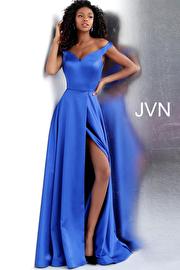Yellow Off the Shoulder High Slit Prom Dress JVN67752