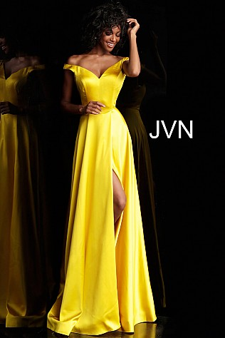 Jvn Yellow Off the Shoulder High Slit Prom Dress JVN67752 abc4167a7