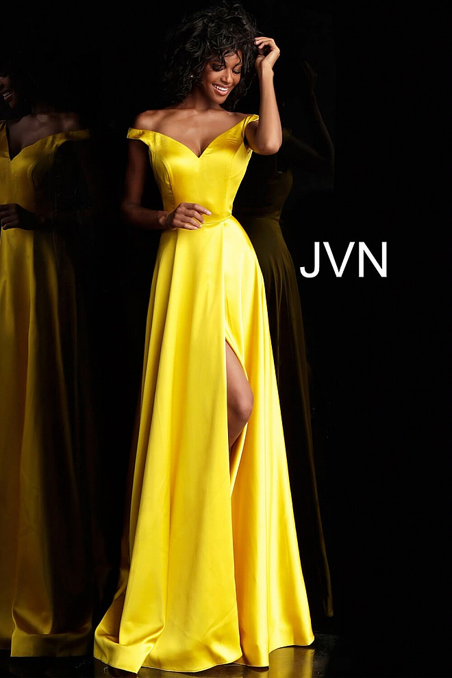5434e610534 Yellow Satin Off-the-Shoulder High Slit Pleated Prom Dress