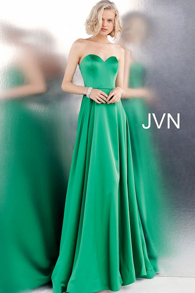 29b6f4a3891 Emerald Strapless Sweetheart Neck Satin Prom Dress JVN67753