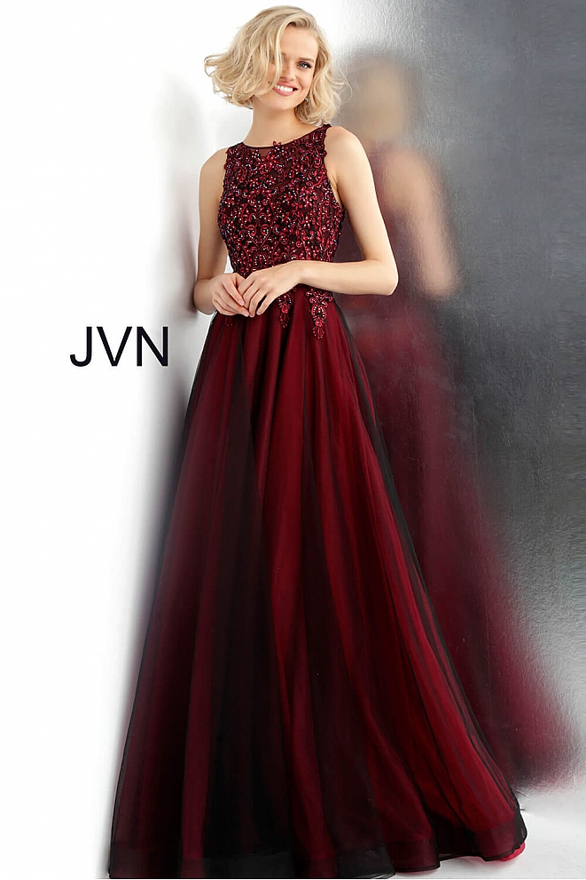 JVN67782 Wine Black Embroidered Bodice Sleeveless Prom Ballgown