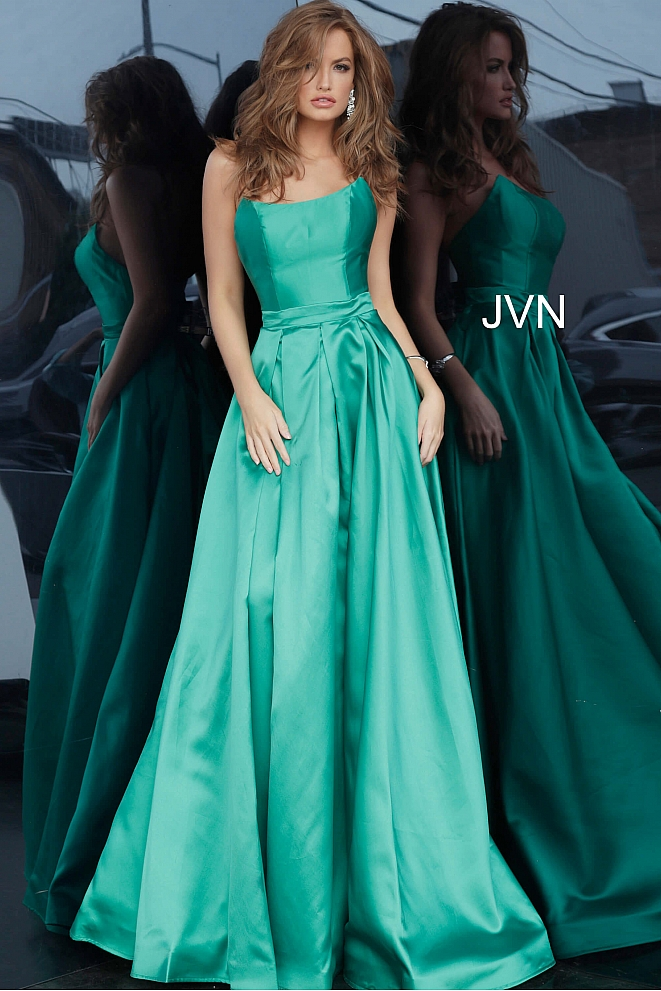 JVN67858 Green Pleated Skirt Prom Ballgown