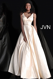 Jvn Gold V Neck Sleeveless A Line Prom Gown JVN67880