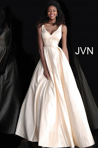 Gold V Neck Sleeveless A Line Prom Gown JVN67880