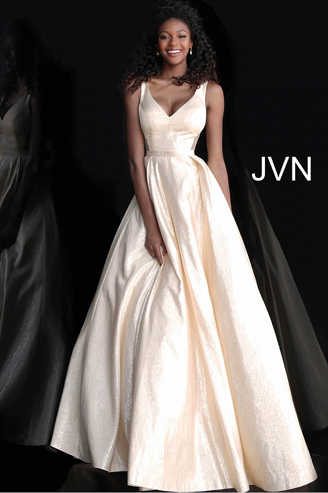 JVN67880 Gold V Neck Sleeveless A Line Prom Gown