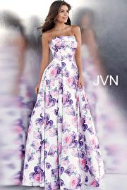 Jvn White Floral Print Strapless Straight Neckline Prom Ballgown JVN67999