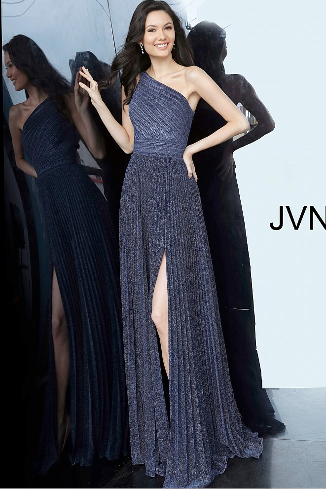 JVN68092 Navy One Shoulder Pleated Prom Dress