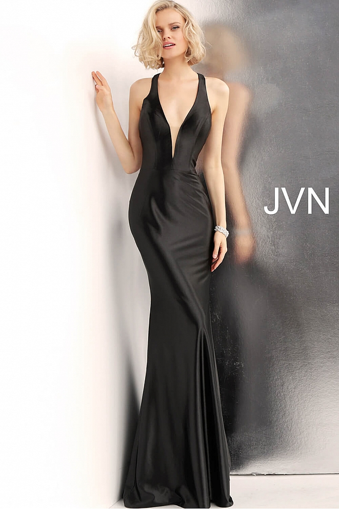 JVN68107 Black Plunging Neck Racer Back Prom Dress
