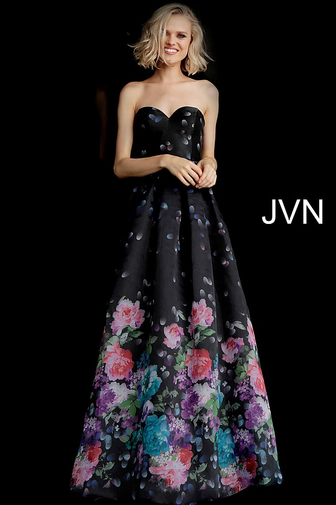 0b37d57b2c7 Jvn Black Multi Strapless Sweetheart Neckline Prom Dress JVN68111 · black  floral print ...
