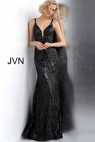 Black Gunmetal Embellished Plunging Neckline Fitted Prom Dress JVN68131