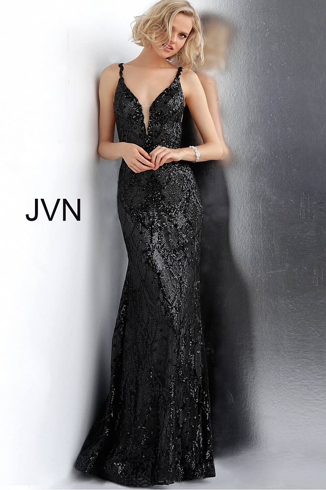 JVN68131 Black Gunmetal Fitted Prom Dress