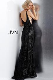 Black Gunmetal Embellished Plunging Neckline Fitted Prom Dress JVN68131