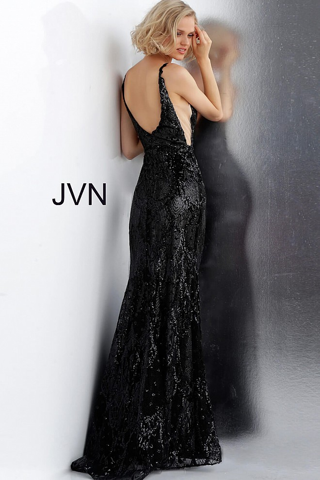 567e4f413858 Black and Gunmetal Sequin Plunging Neck Open Back Fitted Prom Dress