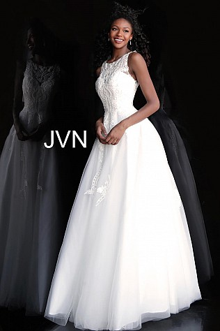 Ivory Embroidered Bodice Sleeveless Prom Ballgown JVN68132