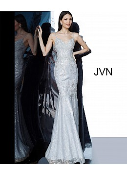 Silver Spaghetti Straps Embroidered Prom Dress JVN68134