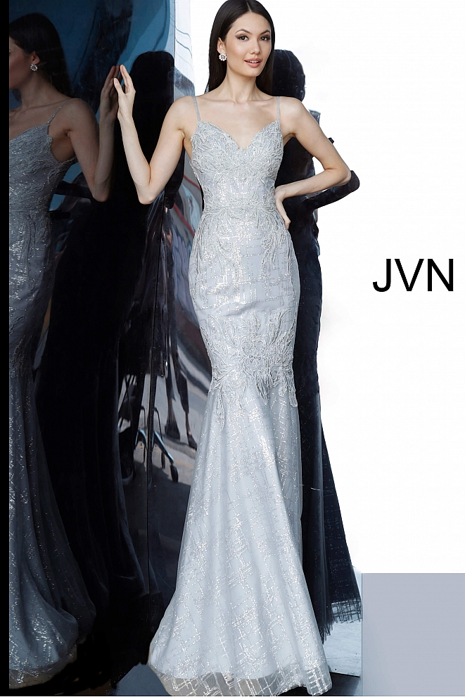 JVN68134 Silver Spaghetti Straps Embroidered Prom Dress