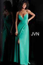 Green Plunging Neckline V Back Prom Dress JVN68176