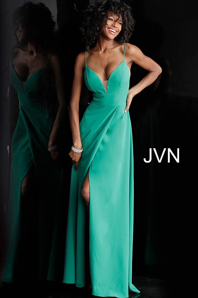 39577c052eb Green long flowy high slit v neckline spaghetti straps dress.