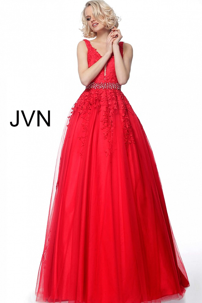 Red Plunging Neck Embroidered Prom Ballgown JVN68258