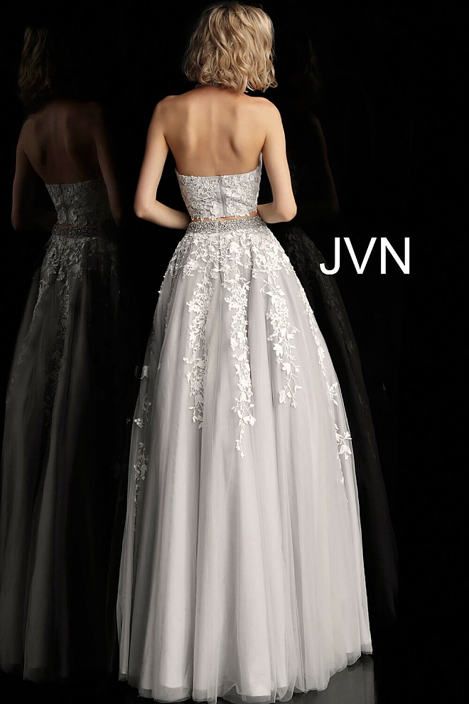 9b2d7b0151f Off-White and Grey Choker Neck Embellished Two Piece Prom Ballgown