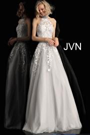Jvn Off White Grey Two Piece Embroidered Prom Ballgown JVN68259