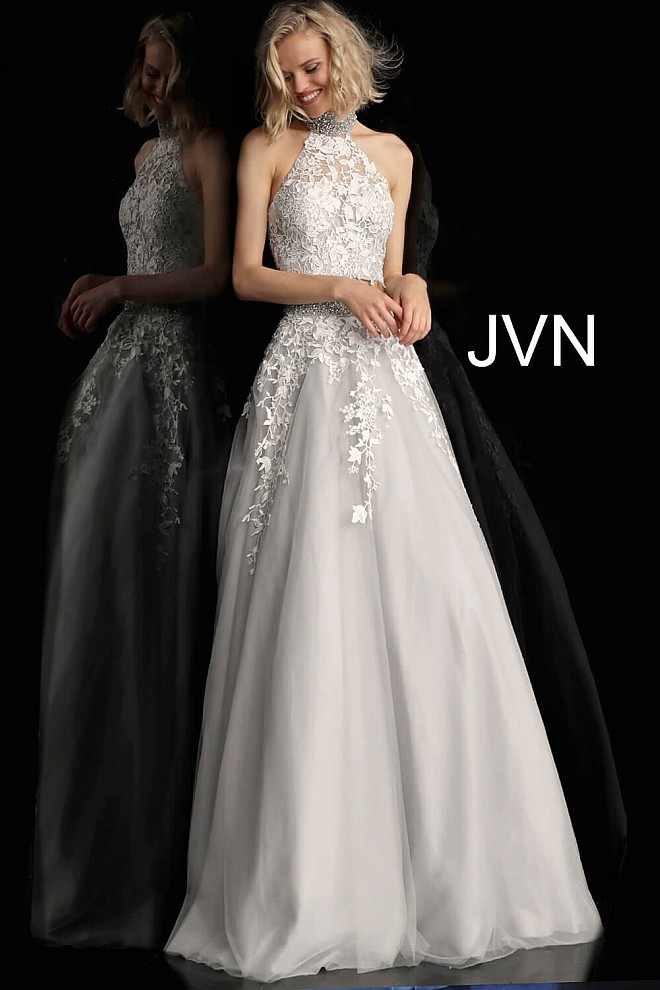 0e57690438b7 Off-White and Grey Choker Neck Embellished Two Piece Prom Ballgown