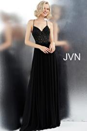 Jvn Black Spaghetti Straps Criss Cross Back Prom Dress JVN68263
