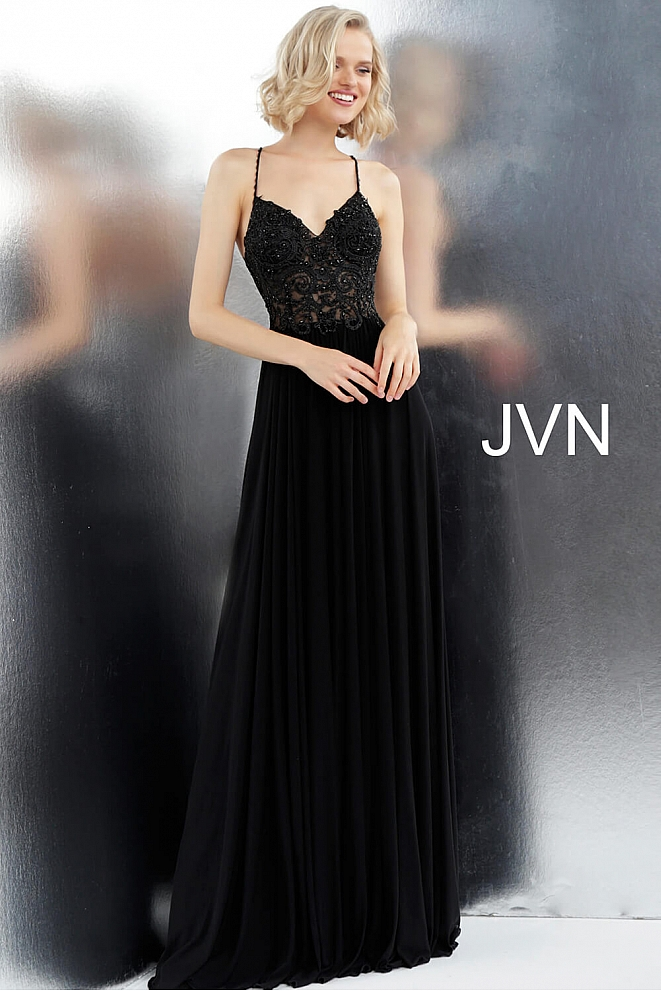 JVN68263 Black Spaghetti Straps Back Dress