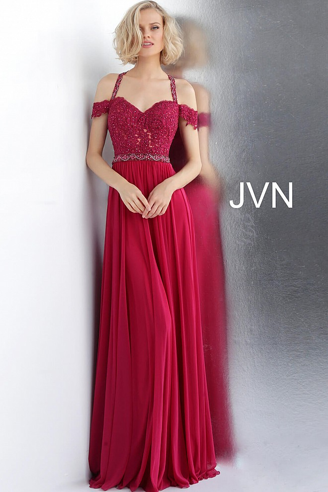1475889f8752 Magenta Embroidered Off The Shoulder Sweetheart Cross Back Prom Dress.  Jovani Navy Embellished Belt Sleeveless A Line ...