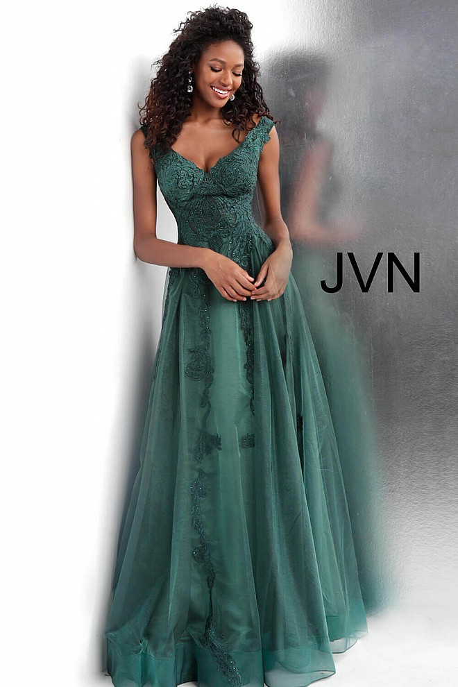 Emerald Embroidered V Neck Prom Gown JVN68271