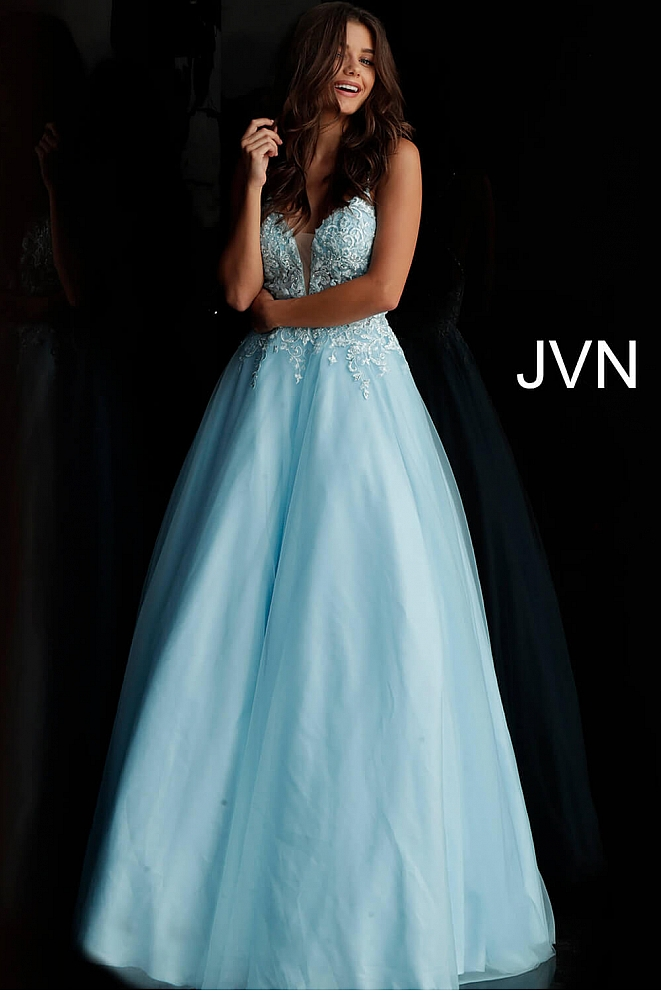 JVN68272 Light Blue Embroidered Bodice Open Back Prom Ballgown