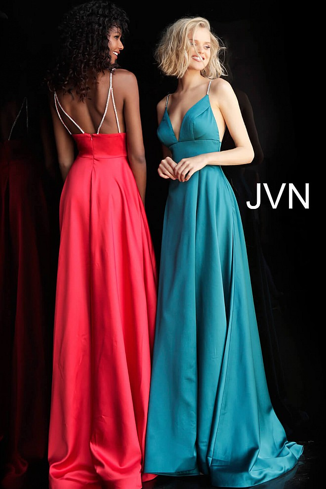 Plunging V Neck Embellished Straps A Line Prom Dress JVN68314