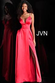 Plunging V Neck Embellished Straps A Line Prom Dress JVN68314