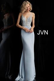 Jvn Light Blue Beaded Bodice Sleeveless Jersey Prom Dress JVN68317