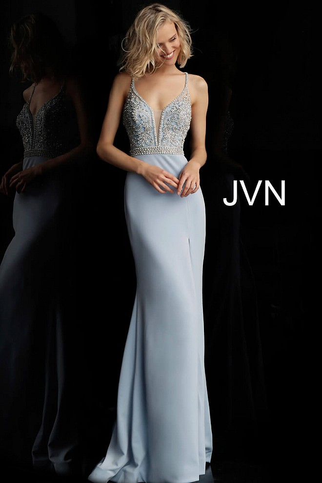 Light Blue Beaded Bodice Sleeveless Jersey Prom Dress JVN68317