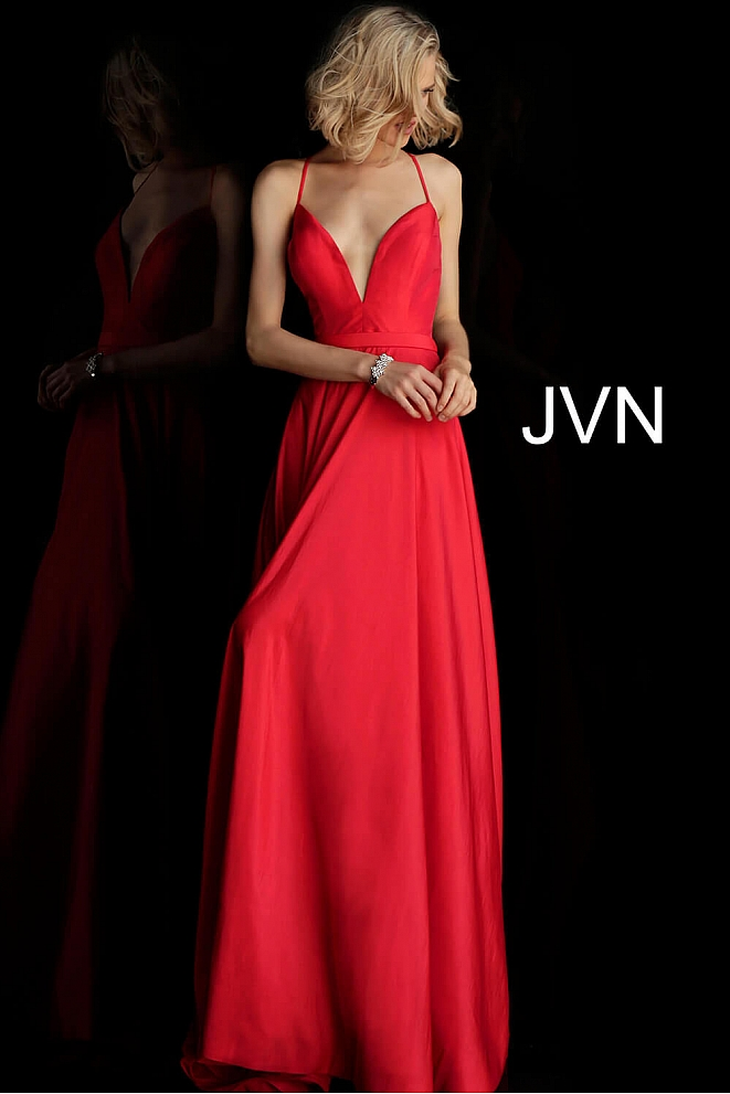 JVN68321 Red Plunging Neckline Spaghetti Straps Prom Dress