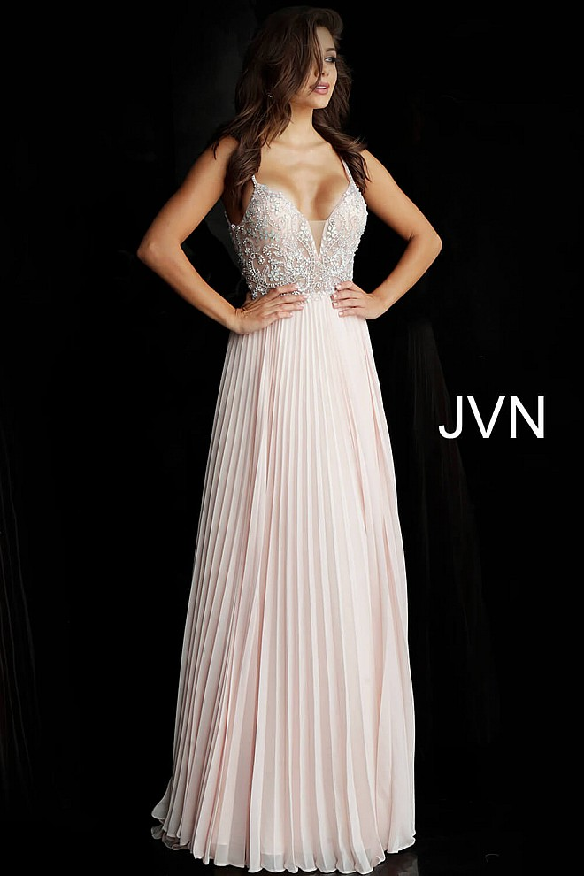 Blush Pleated Skirt Plunging V Neck Prom Dress JVN68343