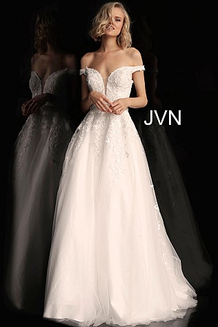 Off White Off the Shoulder Plunging Neck Prom Ballgown JVN68620