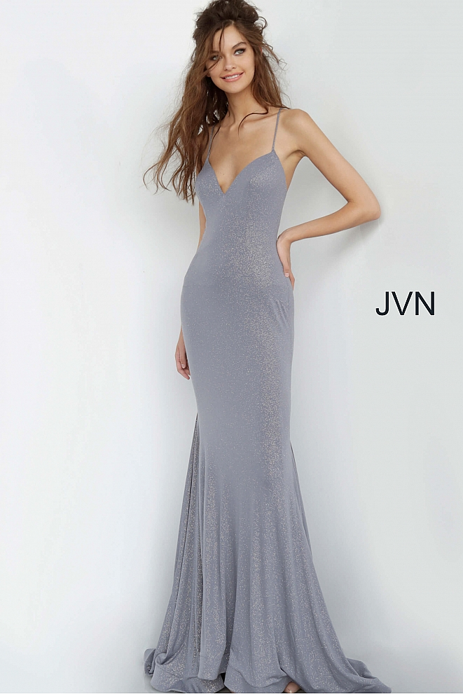 JVN68745 Charcoal Open Back Spaghetti Strap Prom Dress