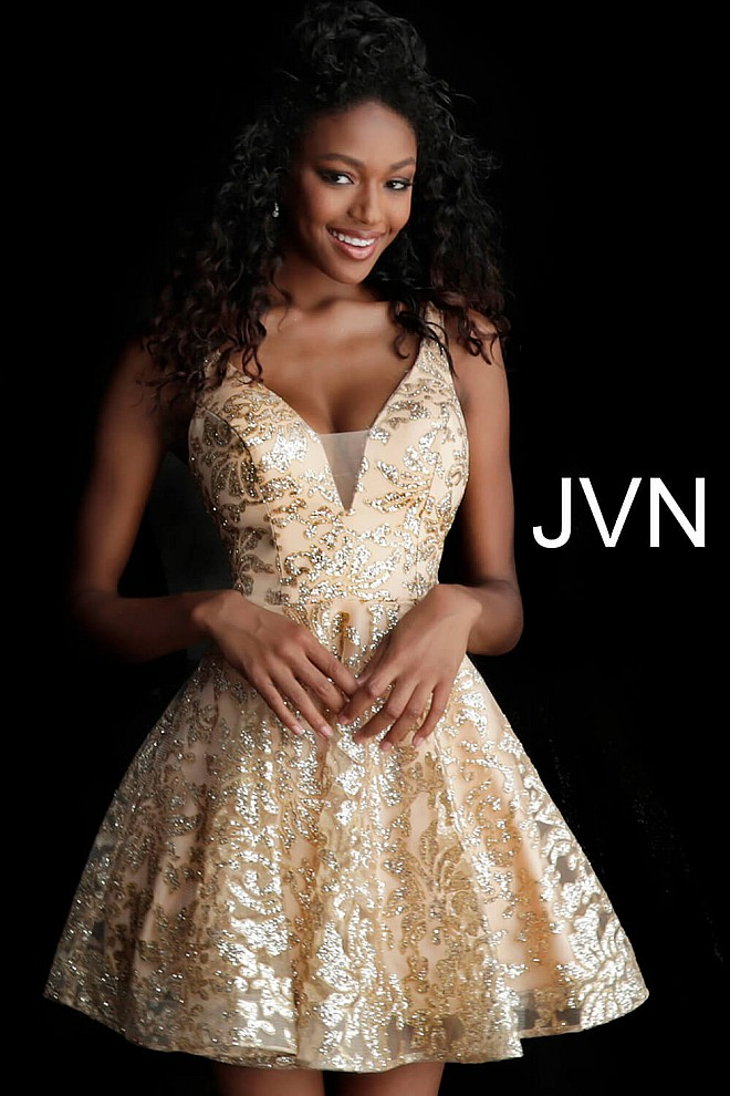 Gold Embellished Fit and Flare Cocktail Dress JVNX65985