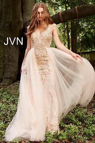 Blush Embellished Column Dress with Tulle Overlay JVN46081