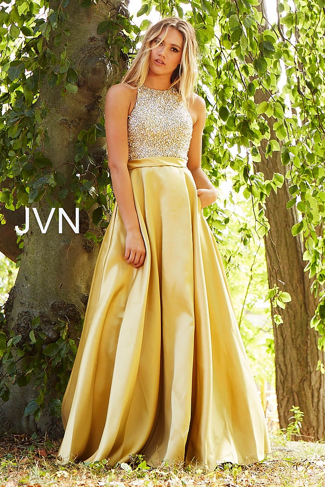 JVN49432 Yellow Embellished Bodice Bridesmaid Dress
