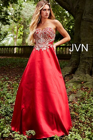 Red Gold Embroidered Strapless Sweetheart Neck Ballgown JVN50070