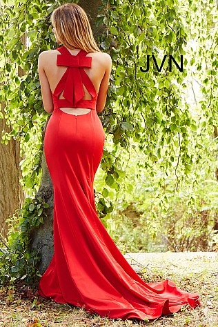 Red Fitted V Neckline Long Prom Dress JVN50333