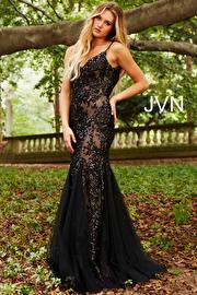 Jvn Black Nude Sequin Embellished Spaghetti Straps Prom Dress JVN53214