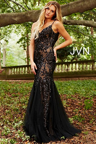 Black Nude Sequin Embellished Spaghetti Straps Prom Dress JVN53214