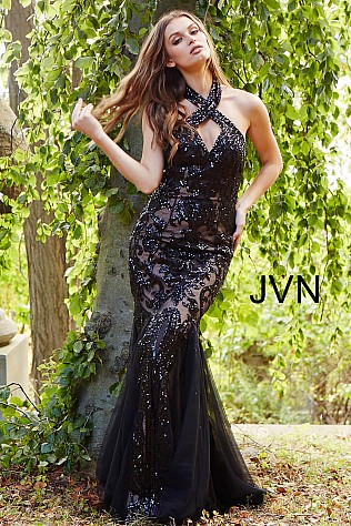 Black Nude Criss Cross Neck Embellished Mermaid Dress JVN53216