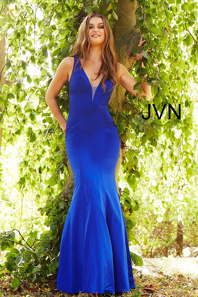 4082cea142e Royal long fitted plunging neckline sleeveless prom dress.