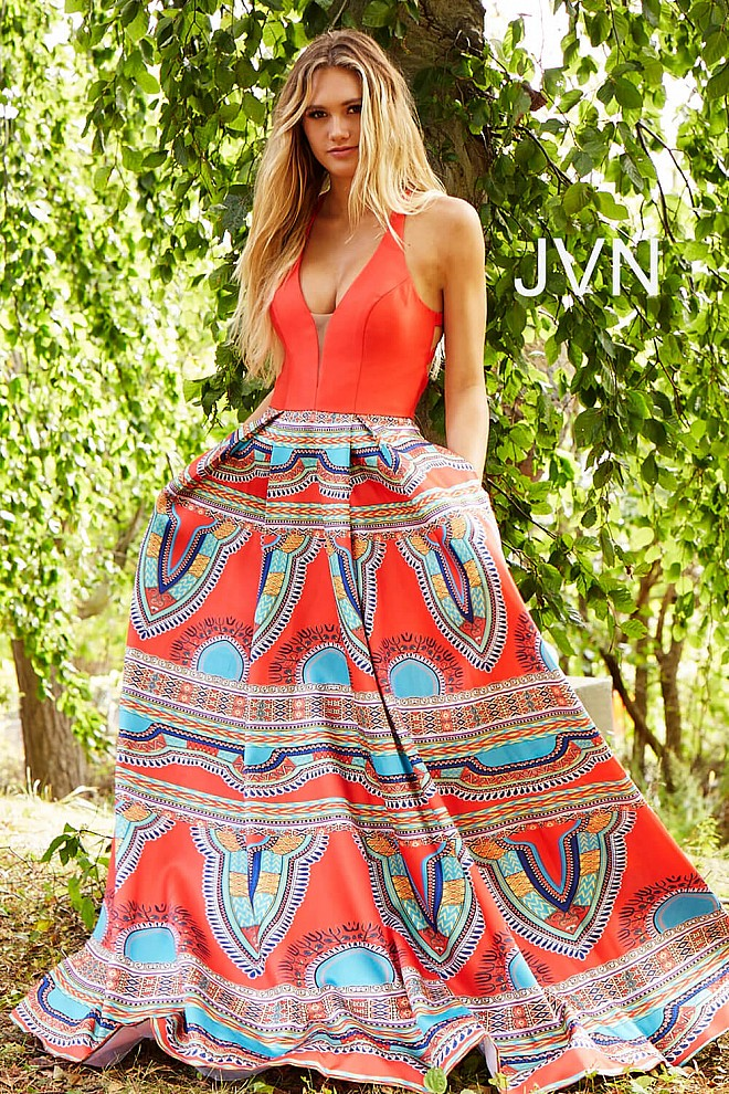Red Multi Print V Neck Prom Ballgown JVN58590