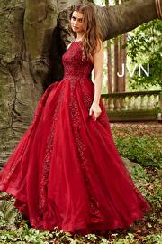 Burgundy Embellished Sleeveless Tulle Prom Ballgown JVN59046